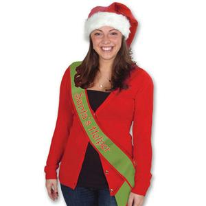 Santa's Helper Satin Sash Christmas