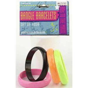 80's Straight Bangle Bracelets Set of 4 Pink Black Orange Neon Green