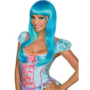 Candy Babe Long Straight Aqua Wig with Bangs