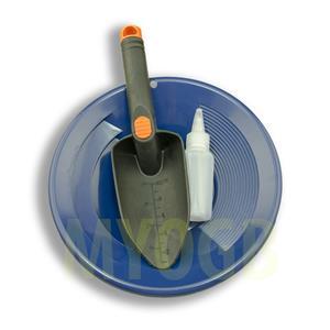 "Gold Panning Kit 10"" Blue Pan - Bottle Snuffer & Scoop - Mining Prospecting"