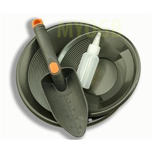 "Gold Panning Kit 10"" & 8"" Black Pans Bottle Snuffer & Scoop-Mining Prospecting"