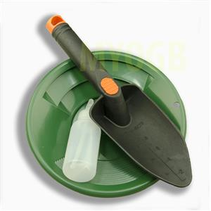 "Gold Panning Kit 8"" Green Pan - Bottle Snuffer & Scoop - Mining Prospecting"
