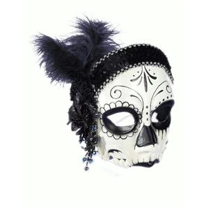 Flapper Skull Day of the Dead Dia de los Muertos Costume Sugar Skull Half Mask