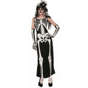 Womens Zombie Skeleton Bone Full Length Dress Halloween Costume