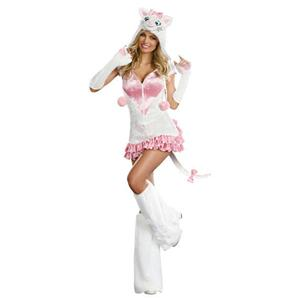 Pretty Kitty Sexy Adult Costume Hooded Dress and Boot Covers Size XL 14-16