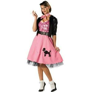 50's Bad Girl Sexy Poodle Skirt Deluxe Adult Costume Size Small