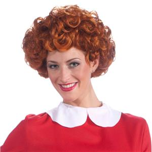 Annie Orphan Adult Wig Short Curly Auburn Red Wig