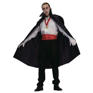 "Black Polyester Vampire Disguise Cape 45"" Long Full Length with Collar 75051"