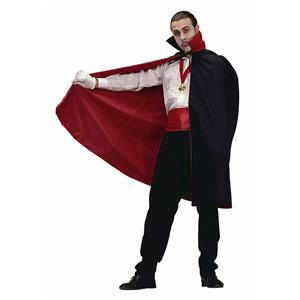 45'' Short Nylon Black and Red Reversible Vampire Disguise Cape w/ Collar 75004