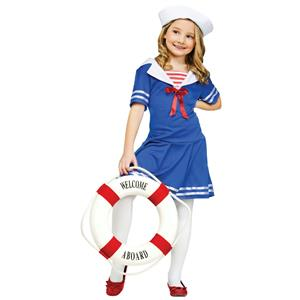 Sea Sweetie Sailor Girls Costume Dress and Hat Size Large 12-14