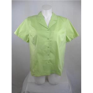 Denim & Co  Size 2X  Short Sleeve Solid Color Cotton/Polyester Shirt in Honeydew