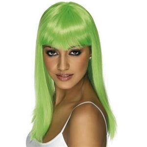 Neon Green Glamourama Long Straight Wig with Bangs