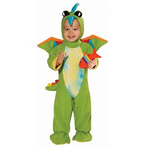 Green Dino Baby Costume Size 6-12 months Fish Rattle Included