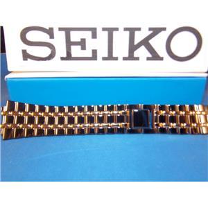 Seiko WatchBand SKP017 Black/Gold Tone Bracelet w/Clip buckle. Back # 7N39-5A29