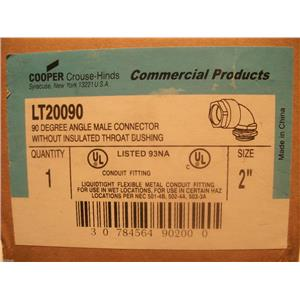 "Crouse-Hinds 2"" 90* Male Connector Without Insulated Throat Bushing LT20090"