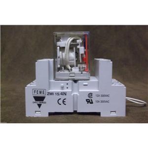 Carlo Gavazzi RMI Relay RMI-A-4-5 and Relay Socket ZMI-15/4N / 14 Pins,12V,12Amp