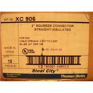 """Thomas and Betts XC906 2"""" Squeeze Connector Straight Insulated (Lot of 10)"""