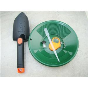 5 pc Kids Gold Panning Kit-Christmas Gift-Green Pan-Snuffer-Vial-Scoop-Magnifier