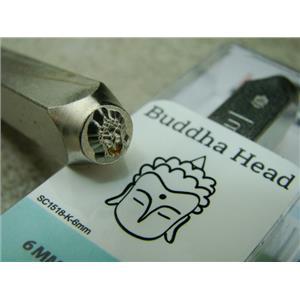 """Buddha Head"" 1/4""-6mm-Large Stamp-Metal-Hardened Steel-Gold & Silver Bar"