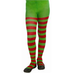 Red and Green Striped Child Christmas Elf Tights Size Large 12-14