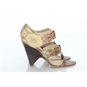 6.5 LAMB Gwen Stefani Brown Feisty Snake Leather Strappy Wedge Heel Sandals EUC