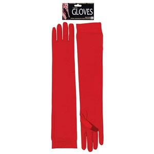 Long Red Nylon Gloves Costume Accessory