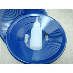 "Lot of 2 - 8"" Blue Gold Pans w/ Bottle Snuffer & Vial-Panning Kit-Duel Riffles"