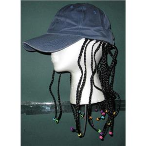 Adjustable Baseball Cap with Attached Long Black Hair Rasta Braids with Beads