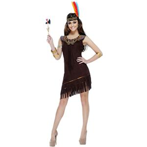 Women's Native American Beauty Costume Dress and Headpiece Small 4-6