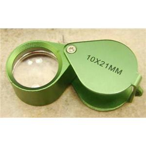 Jewlers 10X Loupe Green Anodized Aluminum K9 Optical Glass Lens 10X21MM