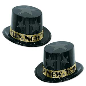 Black and Gold New Year Star Topper Plastic Party Top Hat