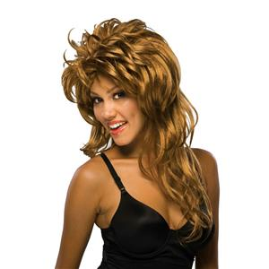 Rockin' Diva Rock-N-Roll Tina Long Brown Layered Spiky Wig