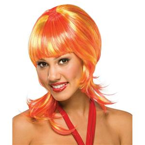 Orange and Yellow Oo La La Shoulder Length Shag Wig with Bangs