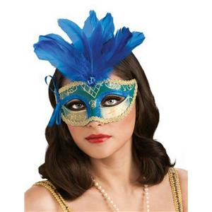 Blue Teal and Gold Venetian Carnival Eyemask Mask with Feathers