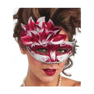 Red White and Silver Venetian Carnival Eye Mask