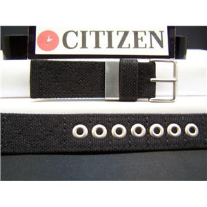 Citizen Watch Band BM6400 21mm Black Thick Stitched Fabric With Metal Eyelets