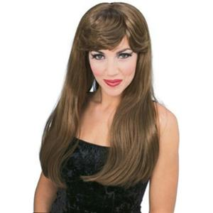 Sexy Long Auburn Brown Glamour Costume Wig