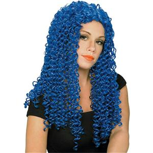 Blue Spiral Wild Curl Adult Costume Wig