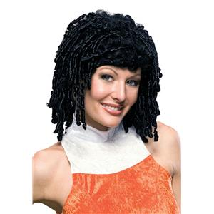 Midnight Curly Cutie Wig Black Tight Spiral Curl Bangs