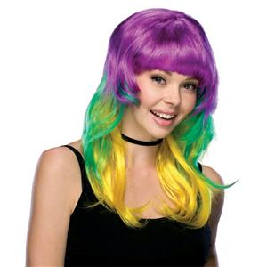 Mardi Gras Long Layered Multi Colored Wig with Bangs