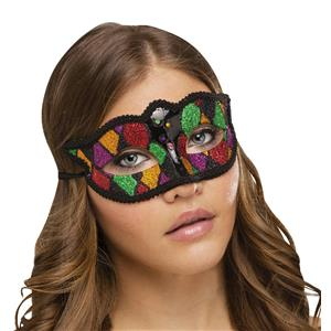 Shimmering Glitter Harlequin Black Green Red Diamond Pattern Mardi Gras Eye Mask