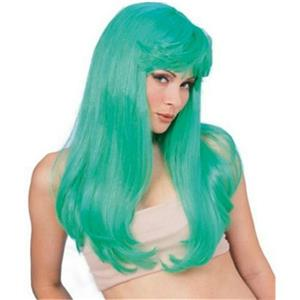 Long Green Glamour Wig with Bangs