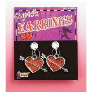 Cupid's Heart Arrow Clip-On Earrings Valentine's Day Accessory Costume Jewelry