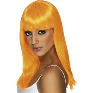 Neon Orange Long Glamourama Wig with Bangs