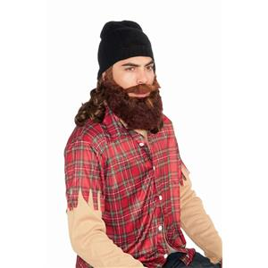Duck Hunter Man Black Skull Cap with Attached Brown Wig and Beard