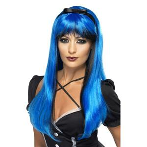Bewitching Electric Blue Over Black Two Tone Womens Costume Wig with Headband