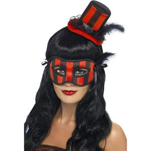 Women's Grotesque Red and Black Striped Burlesque Hat and Eyemask Set