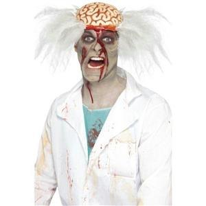 Men's Scalped Mad Scientist White Wig with Exposed Bloody Brain