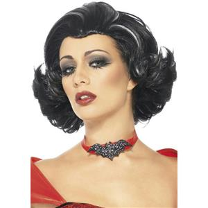 Women's Bijou Boudoir Black Vampiress Wig with White Streaks
