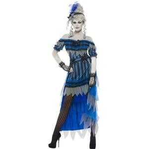 Women's Ghostly Saloon Girl Costume with Dress Overskirt and Headband Size Large